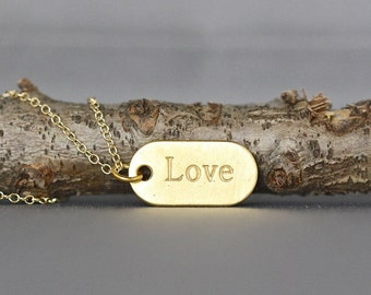 Gold Love Necklace - Gold Dog Tag - Love Dog Tag Necklace - Stamped Love Charm - Romantic Jewelry - Love Jewelry - Jewelry Gift for Her