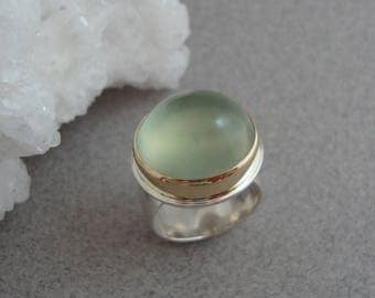 Prehnite Ring in 18k Gold and Sterling, Large Green Cabochon Ring