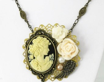 Cameo Necklace, Assemblage Necklaces, Cameo Brooch, Victorian Cameo Necklace, Victorian Cameo Brooches, Cameo Jewelry, Cameos, Brooch, VN001