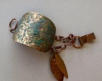 Large Copper Cuff Bracelet w Leaf Dangles Hand Hammered Cuff with Blue Green and Violet Prismacolor Design Boho Artisan Copper Jewelry