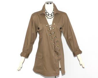 YVES SAINT LAURENT Vintage Rive Gauche Safari Dress Asymmetric Lace Up Tunic - Authentic -