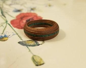 Mahogany Wood Ring with Crushed Malachite Gemstone - Size 10 U.S.