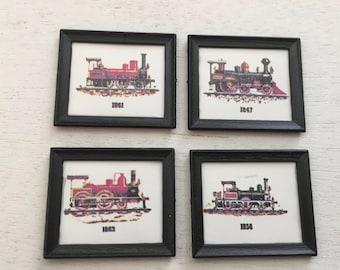 Miniature Framed Train Prints, Set of 4, Vintage Style Train Pictures, Dollhouse Miniatures,  1:12 Scale, Dollhouse Accessories, Decor