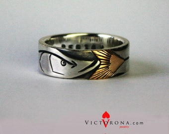 Snook Fish PERSONALIZED ring for man. Ouroboros wedding band. Fishing. Engraving Gift for him. Solid sterling silver, copper/brass/gold tail