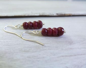 Ruby Earrings, Genuine Ruby Earrings, July Birthstone, Summer Earrings, Summer Outdoors, Ruby Drop Earrings, Ruby Jewelry, Stacked Rubies