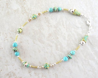 Teal Green & Turquoise Anklet - Topaz Crystal - Green and Gold Exquisite Beading - Large 11-Inch Anklet - Delicate and Lovely