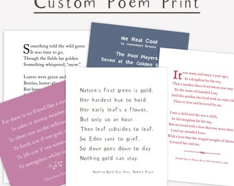 Custom Poem Print, personalized gift, inspirational typography