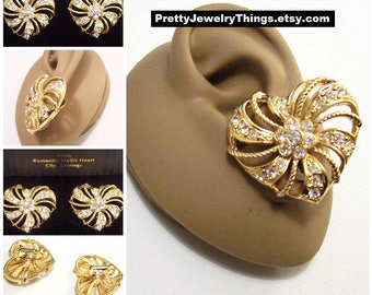 Avon Crystal Swirl Rib Clip On Earrings Gold Tone Vintage 1994 Romantic Trellis Heart Twisted Rope Round Nail Heads Open Slotted Large Disc