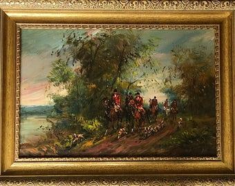 Original Oil Painting Fox Hunt Hunting Scene Horses Signed Fine Art Library Decor