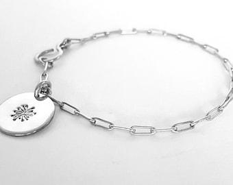 Silver Charmed Bracelet, Silver Chain Bracelet, Dandelion Charm, Personalized Initial Charm Bracelet, Handmade Bracelets, Venexia Jewelry
