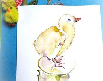 Little chicken. Spring/Easter.Original watercolor.