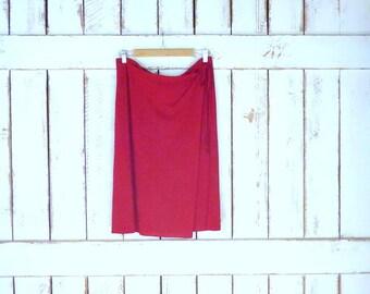 90s vintage DKNY red orange stretch faux wrap pencil skirt/stretch waist knee length midi skirt/large
