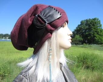 BOHO Clothing Cloche Slouchy Beanie Womens Burgundy Knit Hat Black leather trim w/ Buckle Baggy Big Head Tam Hat A2072