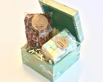 Tea Gift Set, Japanese Paper Decoupage Box, Seafoam Green Wave Print with Metallic Gold Tea Box, Sugar Cubes, Tea Party, Jewelry Trinket Box