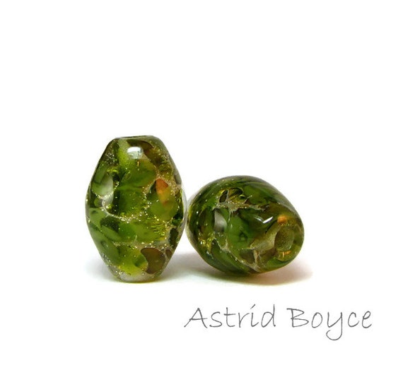 Olive Ovals Artisan Lampwork Bead Pair - Transparent Glass paired with fine Italian Silver  -  these pair perfectly with 2mm Natural Leather