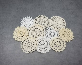 10 Vintage Crocheted Doilies, Small Crochet Snowflakes and Flowers, 2.25 to 3 Inch Doilies in a Mix of White, Cream, Beige, Ivory Colors