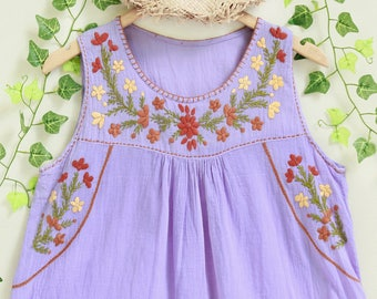 Floral Blouse, Hand Embroidered Bohemian Cotton Top, Sleeveless Summer Blouse, Handmade Women's Blouse, Round Neck Top in Violet