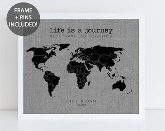 World map gift etsy life is a journey pushpin travel map world map wall art travel map of gumiabroncs Choice Image