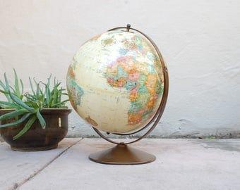Vintage Replogle World Classic Series Globe 12inch Diameter Globe World Globe Map Vintage Globe Home Decor Tan World Globe Classroom Desktop