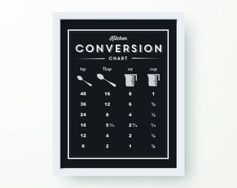 Kitchen Conversion print - Measuring conversion, Recipe conversion, Kitchen Art, Kitchen Decor, modern, clean, 56 colors, Minimalist