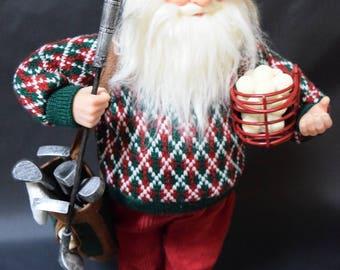 OLD WORLD SANTA Claus statue figurine, Golfing Santa Claus, Santa collectible