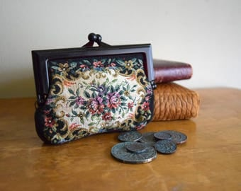 Small Vintage Floral Coin Purse - Victorian, Edwardian, Boho