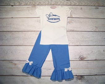 Dallas Cowboys Outfit / Onesie or Shirt + Pants / Blue & White / Football / Game Day / Newborn / Infant / Baby / Girl / Toddler / Boutique