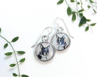 Puppy Jewelry, Boston Terrier Earrings, Handmade Resin Art Dog Earrings