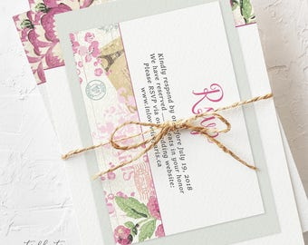 Wedding Invitation Suite, Semi Custom - Vintage Rose (Style 13345)