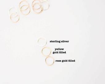Tiny Hoop Cartilage Earrings  - Hoop Earrings - Endless Hex Helix Hoops - Rose Gold Hoops - Cartilage Jewelry - Endless Hoop Earrings