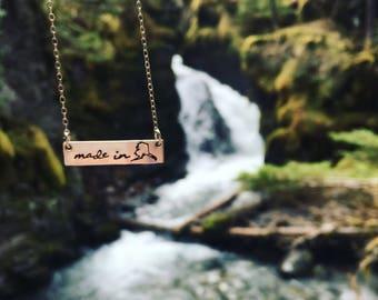 Made in Alaska Necklace - Alaska Bar Necklace - Alaska Gift - Alaska Souvenir