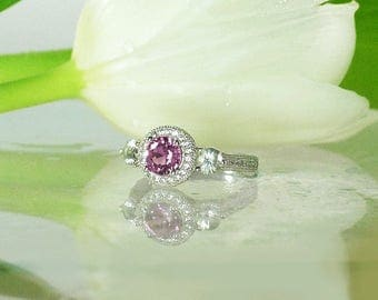 Sapphire Ring Pink Halo Engagement