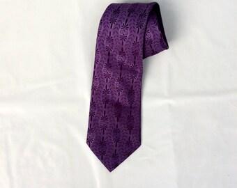 vintage 70s Purple Tie Polyester psychedelic Purple Rain wide necktie slight sheen by Viso Doro 1970s Disco tie