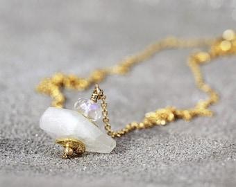 Moonstone Necklace - Moonstone Pendant - June Birthstone - Raw Gemstone Necklace - Bridal Jewelry - Moonstone Jewelry - Wedding Necklace
