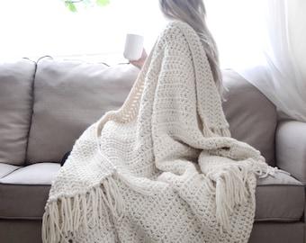 Chunky Knit Throw Blanket Crochet Afghan Tassels / Crochet Throw Cozy Thick Warm Home Decor Blanket / Hygge Cream White Fringe Throw