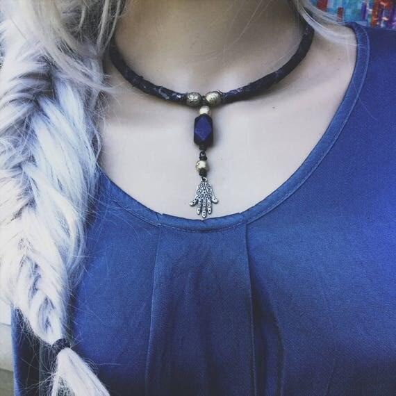 Boho Hamsa Necklace | silver hamsa, amulet necklace, boho choker necklace, lapis lazuli necklace, blue sari silk, blue and silver