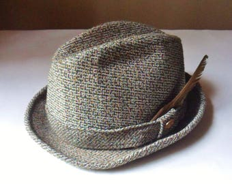 Mens Tweed Fedora Hat with Button and Feather 7 1/4, Pendleton Satin Lined Wool Hat