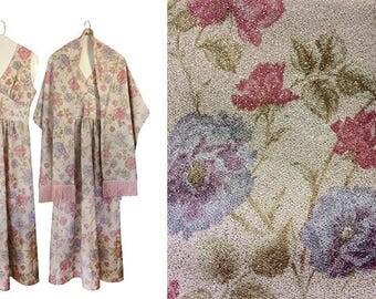 Vintage Semi Formal Dress Floral Maxi Dress 60s Maxi Dress Fringe Shawl Scarf Shawl Sparkly Dress Pink Maxi Dress 1960s Dress Day Dress