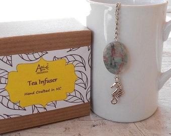 Sea Horse Infuser, Coastal, Beachy, Nautical, Dragon Jade Stone, Lead Free Charm, Peaceful, Resistance Symbol, Tea Lover, Under 10 Dollars