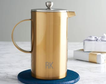 Personalised Initials Gold Double Walled Cafetiere