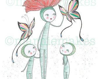 Poppy & The Butterfly - A4 Giclee Print