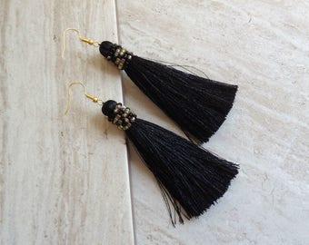 Alana Tassel Earrings, Black Silk Tassel Earrings, Boho Black Tassle Earrings, Long Black Tassel Earrings, Party Earrings, Boho Earrings