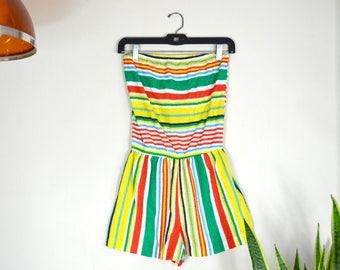 INSANE 1970s striped terrycloth romper // vintage rainbow one piece playsuit