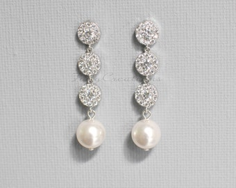 CZ Wedding Earrings, Bridal Earrings, Pearl Drop Earrings, Crystal Bridal Earrings, Silver Earrings, pearl earrings