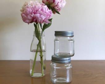 modern farmhouse pair of galvanized metal lid jars