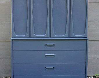 Navy Mid Century Tall Dresser