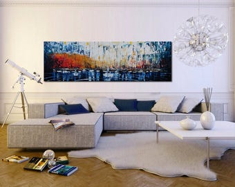 Extra Large, Oil Painting, Seascape, Blue, Abstract painting,Large Wall Art,Canvas Art,Abstract Art, Painting by Tatjana Ruzin,Made to order