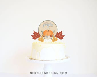 Little Pumpkin Cake Topper | Fall Cake Topper | Fall Birthday | Little Pumpkin Birthday | Fall Leaves Cake Topper | Printable Cake Topper