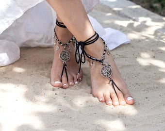 Black Barefoot Sandals Beach Wedding Anklet Gothic Jewelry Foot Beaded Sandal Footless Soleless