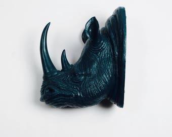 XL Petrol Resin Rhino Head - The Goliath in Petrol - White Faux Taxidermy - Faux Taxidermy - Resin Faux Taxidermy- Chic Rhino Sculpture